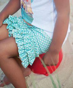 Aqua Dot Ruffle Shorts