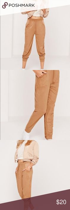 Missguided Faux Suede Cuffed Joggers Tan XS Good condition. I'm a model/blogger. Check out my insta at ohn _ mintyfresh for more stuff. No time to upload every item I wanna sell, but if you see anything you like on my insta (that's not posted here) - 📩 me at ohn _ myint 29 @ yahoo 😘 Most of my stuff is almost new (only used in shoots) - I do bundle shipping discount. Just holla! 🙋🏼😉 (No trade plz) Missguided Pants Track Pants & Joggers