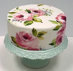 Beautiful hand-painted cake on a gorgeous mint coloured stand. ᘡղbᘠ