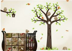 Vinyl Wall Decal Baby Nursery Tree Branch decal cute owl Hedgehog Dragonfly home house baby room wall Decals Wall Sticker kids