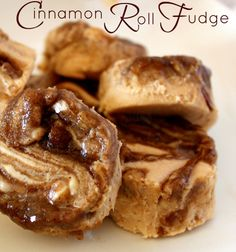 Recipe for Cinnamon Roll Fudge - Fudge & Cinnamon Rolls are brought together in this harmonious sweet, sticky, Pecan filled, swirly cinnamony treat!