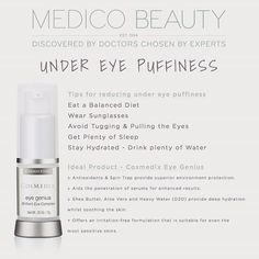 under #eye #puffiness a problem for you?? #cosmedix eye genius is an amazing #skin #care #product for this problem. #hydrate #smooth #beauty #tips #advice #antioxidants #sheabutter #sleep #sunglasses #bags #Wednesdays #health #medicobeauty #blogging #supplier #professional #experts #face #ageless #agelessbeauty