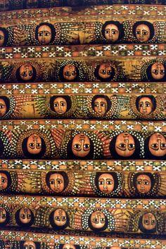 Ethiopia - Gondar, Church Debre Birhan, ceiling