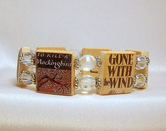 """BANNED BOOKS Bracelet / Literature Lover Gift / """"Right to Read"""" / Bookworm SCRABBLE Jewelry / Upcycled"""