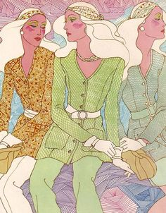 1970s fashion illustration, from a Vogue Pattern Book
