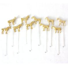 Charming Pony / Horse Gold Animal Drink Stirrers, Swizzle Stick, Cocktail Stirrer - Set of 10 on clear