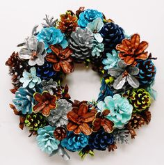 Handmade Spring/Summer Pine Cone Wreath Center Piece 10 by EacArt