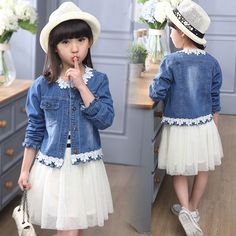 Cheap girls denim jacket, Buy Quality girl coat directly from China outwear girl Suppliers: 2017 Girls Denim Jacket Lace Cute Patched Outwear Girls Coat Spring Autumn Children Clothing For T Girls Denim Dress, Denim Jacket With Dress, Girls Denim Jacket, Demin Jacket, Suit Jacket, Denim Coat, Skirt Suit, Denim And Lace, Little Girl Dresses