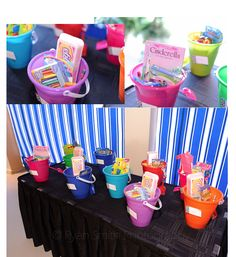 """Our wedding happen to fall on easter weekend so I put together easter """"baskets"""". Our wedding was on the beach so I used sand buckets and toys so the kids could play in the sand at the reception!"""