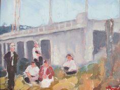 Kevin Yuen California Impressionism Bridge Architecture Sitting Figure Painting | eBay