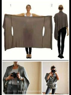 Cardigan Like a Bina Brianca Wrap is Must-have Womens Top : DIY Two Tutorials for the Bina Brianca Wrap. It can be worn as ascarf cardigan poncho blouse shrug stole turtleneck shoulder scarf backwrap. Diy Clothing, Sewing Clothes, Trendy Clothing, Diy Kleidung, Diy Vetement, Creation Couture, Mode Inspiration, Sewing Hacks, Sewing Projects