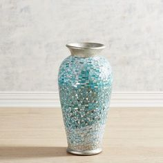 Coastal Mosaic Floor Vase - Handcrafted of glass and mirror pieces inlaid over terracotta and accented with a golden base and rim, it's the perfect vessel for dried flowers that'll add an extra splash of color to your decor. Blue home decor ideas Blue Home Decor, Beach Cottage Decor, Coastal Decor, Coastal Cottage, Decorative Accessories, Decorative Items, Half Bath Decor, Discount Home Decor, Mosaic Crafts