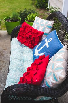 How to host a backyard bbq party your guests will love. Make sure everyone has comfy seating. Add a pop of color with some festive and fun pillows!