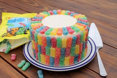 Get a serious sweet-and-sour fix with this Sour Patch Kids Cake. Lemon cake, lemon frosting and a ton of Sour Patch Kids! Kid Cupcakes, Cupcake Cakes, Cake Mix Muffins, Happy Birthday Cakes, 2nd Birthday, Birthday Ideas, Birthday Presents, Birthday Parties, Sour Patch Kids