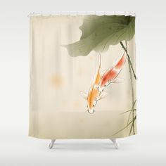 Koi fishes in lotus pond Shower Curtain by Ori Artiste