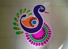Easy Decorative Rangoli Rangoli Designs Peacock, Easy Rangoli Designs Diwali, Rangoli Simple, Rangoli Designs Latest, Simple Rangoli Designs Images, Free Hand Rangoli Design, Rangoli Patterns, Small Rangoli Design, Rangoli Ideas