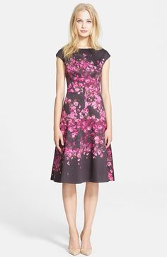 Lela Rose Floral Drop Waist Stretch Cotton Dress available at #Nordstrom