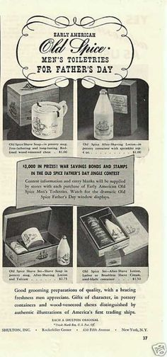Old Spice Mens Toiletries Fathers Day Shaving & Grooming, Wet Shaving, Advertising Ads, Vintage Advertisements, Savings Bonds, Product Ads, Old Spice, Safety Razor, Old Signs