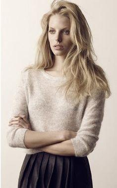 cream sweater, pleated skirt