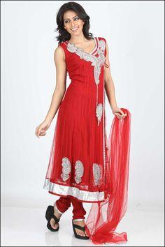 Designer Wedding Anarkali Kameez; Carnelian Red Net Wedding and Festival Embroidered Anarkali Kameez