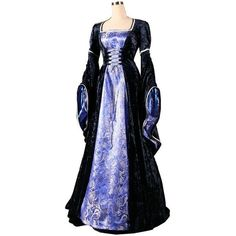 Ladies Medieval Renaissance Costume and Headdress Medieval Costumes... ❤ liked on Polyvore featuring dresses, medieval dress and medieval