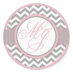 Pink & Gray Chevron Print Monogram Stickers #baby shower, #party favors, #twins, #shower favors, #birth announcements, #baby boy, #baby girl, #cheap, #inexpensive, #personalized, #shower party favors, #unique, #favor ideas, #favor, #favour, #babies, #infant, #timelesstreasure
