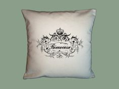 #Bienvenue #Welcome Ornate Frame Typography Handmade #Pillow #Slip 16x16 - image in ANY COLOR #handmade #thecraftstar $20.00