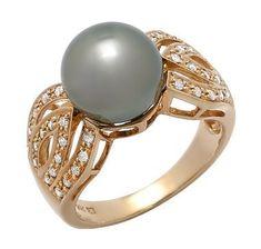 14K Yellow Gold Black South Sea Pearl & Diamond Ring