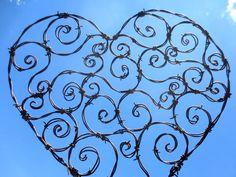 Spirillian Barbed Wire Heart Filled With Random Spirals... wonderful!