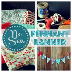No Sew Fabric Pennant Banner!  Glue gun, stitch witchery, and an iron!