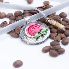 Photo Locket Pendant Floral locket pendant Pink by SoroorStudio