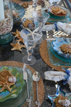 beautiful sea shell tablescape beach cottages coastal decor seashells starfish