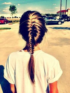 fishtail french braid #hair #beauty this is such a nice fish tail braid with her hair it's rally gorgeous!!!!!!!!!!