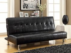 Bulle collection black leatherette upholstered tufted top futon folding sofa bed with side pockets and chrome legs