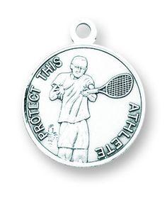 HMH Religious St Sebastian Round Tennis Sports Saint Medal Necklace