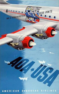 AOA American Overseas Airlines vintage travel poster, 1948 ~ Lewitt Him