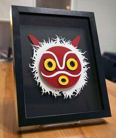 Framed Princess Mononoke Mask 47 Insanely Adorable Studio Ghibli Items You Need Immediately Art Studio Ghibli, Studio Ghibli Movies, 3d Paper Crafts, Paper Art, Diy And Crafts, Geek Crafts, Kirigami, Totoro, Japon Illustration