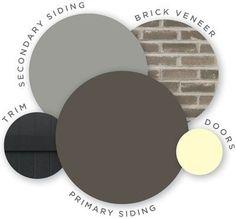 Ideas Exterior Brick House Colors Vinyl Siding For 2019 Exterior Color Schemes, Exterior Paint Colors, Exterior House Colors, Paint Colors For Home, Exterior Brick Veneer, Exterior Siding, Gray Siding, Diy Exterior, Building Exterior