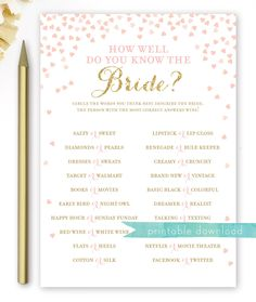 How Well Do You Know the Bride Game in Pink and Gold Bridal Shower Gifts For Bride, Nautical Bridal Showers, Disney Bridal Showers, Gold Bridal Showers, Bridal Shower Rustic, Bridal Shower Games, Bridal Shower Invitations, Bridal Games, Bride Shower
