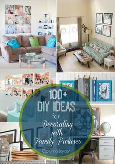 How to decorate with photos-over 100+ ideas for decorating with your family pictures!  Capturing-Joy.com