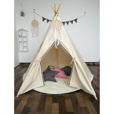 WIGWAM-Large-Kids-Teepee-Cotton-Canvas-Play-Tent-Tipi-Indoor-Outdoor
