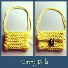 £7 Handmade PASTEL YELLOW crochet HANDBAG. Size: 12cm x 9cm. Turquoise green shell button.