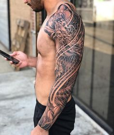 The is a symbol of rebirth from the ashes of the past, and it also represents the victory of life over death, thus immortality. Phoenix Tattoo Sleeve, Koi Tattoo Sleeve, Japanese Sleeve Tattoos, Tattoo Sleeve Designs, Dragon Tattoo Arm, Dragon Tattoos For Men, Dragon Sleeve Tattoos, Arm Tattoos For Guys, Cool Forearm Tattoos