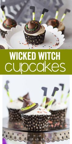 Wicked Witch Cupcakes are a festive and friendly Halloween treat! Cupcakes topped with the wicked witch accessories makes this a fun treat for the kids to make, share with their friends, or enjoy at a trick or treat party! Halloween Snacks, Halloween Cupcakes, Hallowen Food, Dessert Halloween, Holidays Halloween, Kids Birthday Cupcakes, Halloween Brownies, Halloween Parties, Spooky Halloween
