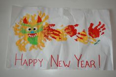Chinese New Year Dragon Handprint Craft A little decoration for the gathering at Grandma's house I made this craft with my toddler, all by myself. It was an adventure keeping him from smushing his...