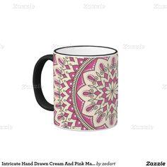 Intricate Hand Drawn Cream And Pink Mandala Ringer Coffee Mug