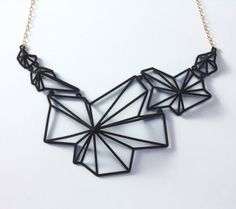 3-D printed ANDROMEDA NECKLACE, BLACK / Summerized by Summer Powell.Join the 3D Printing Conversation: http://www.fuelyourproductdesign.com/