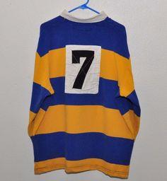 Vintage Polo Sport Ralph Lauren Blue Yellow Stripe LS Polo Rugby Shirt XL EUC #PoloSportRalphLauren #PoloRugby