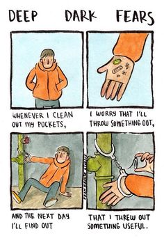 We all have strange and irrational fears, but few of us make a living off them like Fran Krause. Creepy Stories, Horror Stories, Fran Krause, Fear Book, Deep Dark Fears, Dark Comics, Funny Comics, Tumblr Funny, Comic Strips