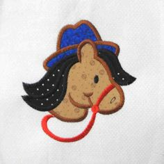 COWBOY Horse Applique and Embroidered Quilt Block by amyglitterbug, $6.99